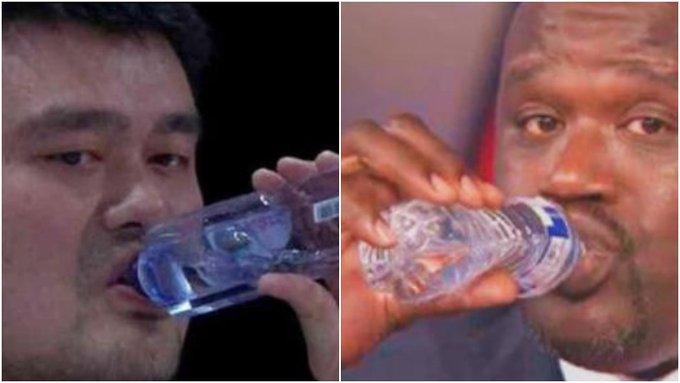 都知道姚明和歐尼爾的體型巨大,礦泉水變口服液,那兩人合影會如何?