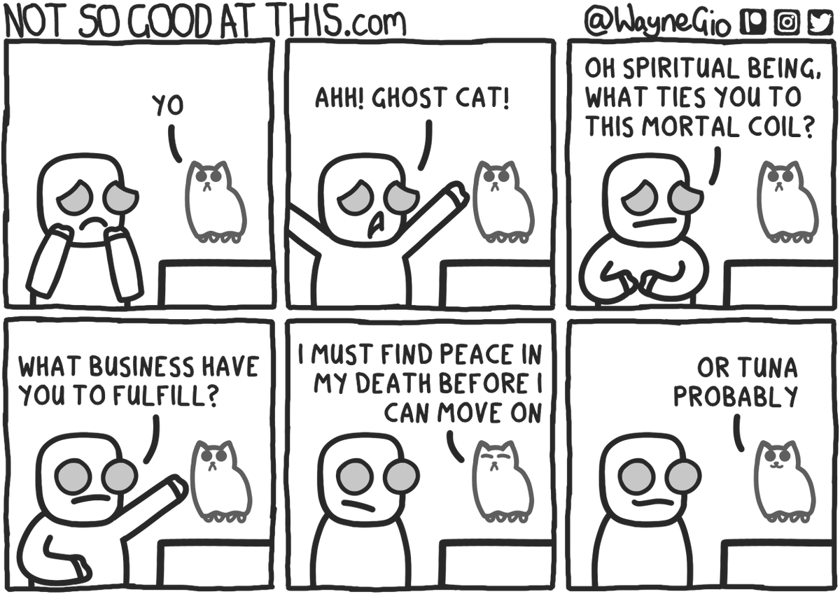 Not satisfied in life. #comic #comics #webcomic #webcomics #cats #ghosts https://t.co/Fk3fNOinTI