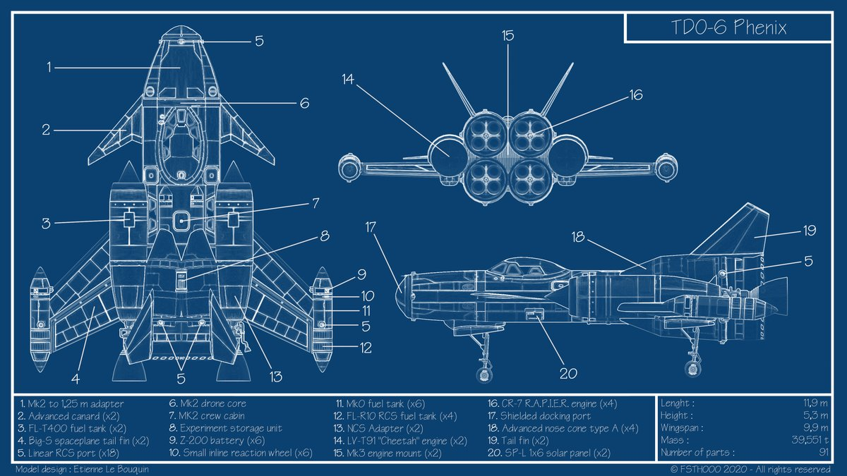 TDO-6 Phenix challenge you to take 6 Kerbonauts and 18 science instruments!  Reusable, now you can save a lot of boosters!   Blueprint by @FSTH000 Craft by Etienne Le Bouquin #KSP #KSPBlueprints Moar blueprints here! https://t.co/LBOBGN8ZIl https://t.co/LCtzATCtey