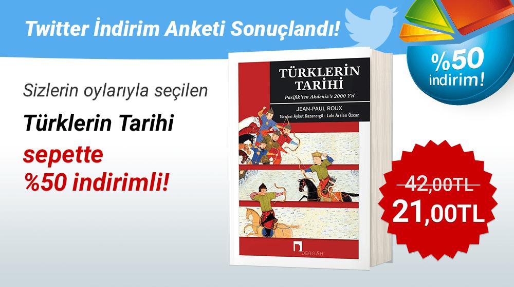 """Sizlerin Oylarıyla Seçilen """"Türklerin Tarihi - Pasifik'ten Akdeniz'e 2000 Yıl"""" SEPETTE %50 İndirimli! 📕📊 (⭐️İndirim, ancak üye girişi yapıldıktan sonra görülebilir.) 🎁Kitabı satın almak için👉 https://t.co/8AGvH8hOq1 #kitapyurduindirimanketi #kitap #kitapyurdu @dergahyay https://t.co/p1kLPDs5sb"""