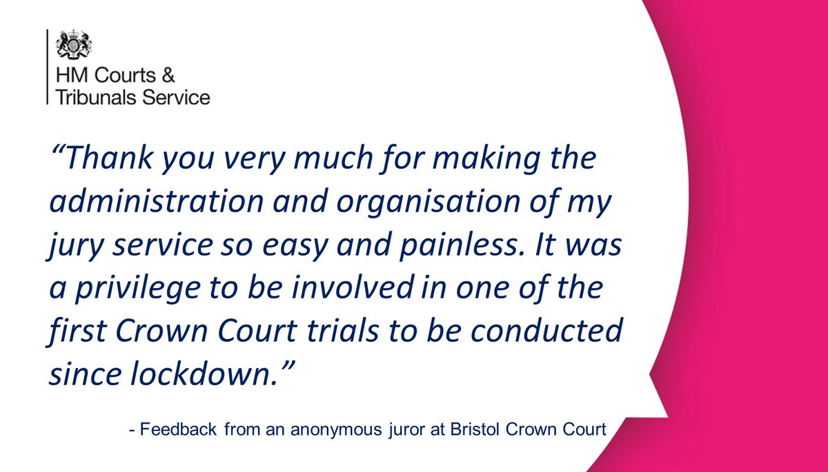 """It was a privilege to be involved"" – positive feedback from a juror who attended a recent trial at #Bristol Crown Court. @JudiciaryUK @MojGovUK https://t.co/x2iTa7CLY7"