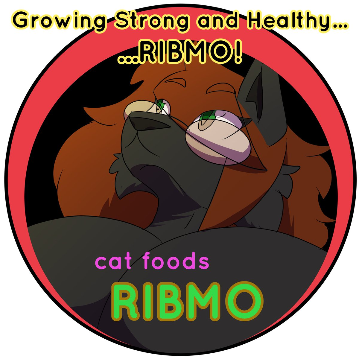 """Ribbons managed to get herself a sponsorship deal.  Now there's a cat food on the market using her likeness!  Warning: Ingestion of """"RIBMO"""" brand cat food might lead to becoming a gray cat with a fondness for pink tassels. pic.twitter.com/ZgVraKnQEJ"""