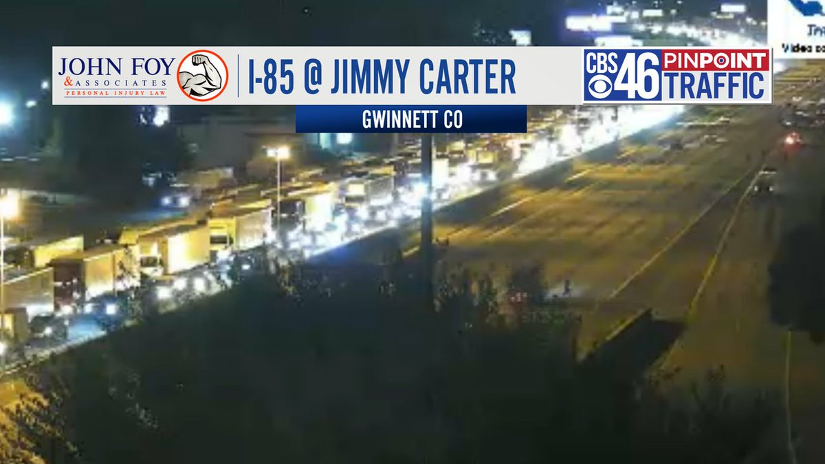 5:00 am - TRAFFIC ALERT - Situation slowly improving on I-85 NB at Jimmy Carter in Gwinnett County. The highway has reopened, but it will take a while to get back up to speed. The 4+ mile back-up happened after a big crash and vehicle fire at 2 am closed the highway.  #cbs46 https://t.co/IqJBQZGVAF