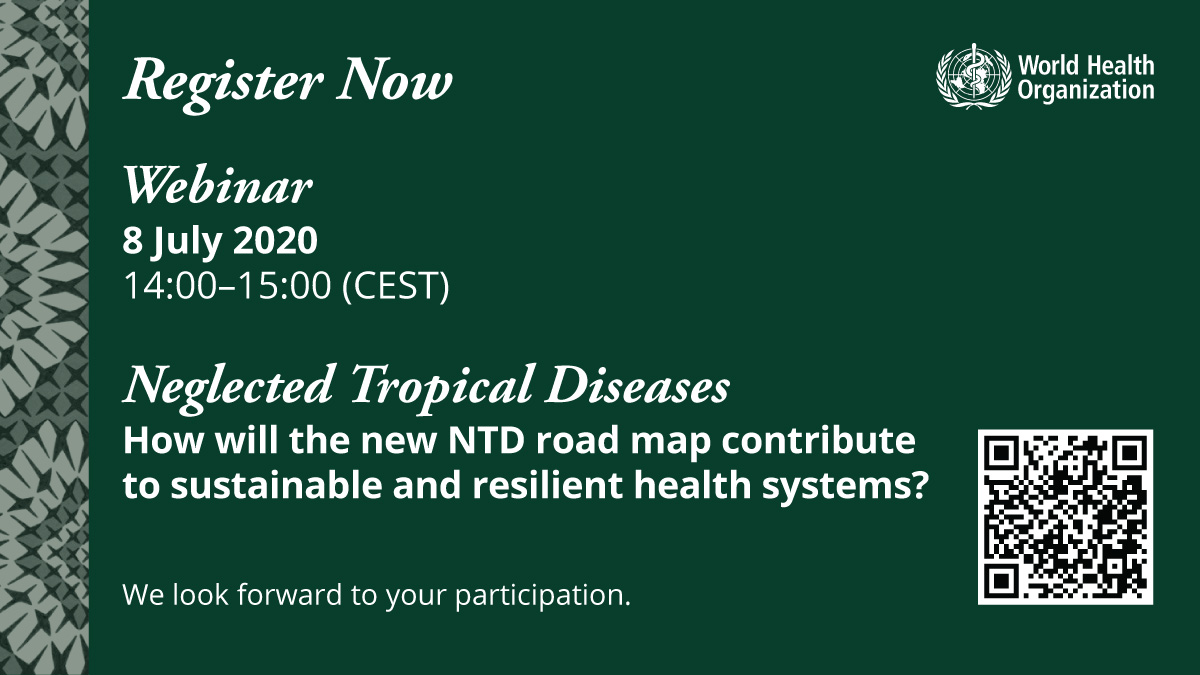 Find out how the neglected tropical diseases road map contributes to sustainable and resilient health systems, during the #NTDs webinar:  🗓️ 8th of July 14:00 - 15:00 (CEST)  Register to participate: 👉 https://t.co/KTNzal4Fs2 https://t.co/j8Yo1Lo5MF