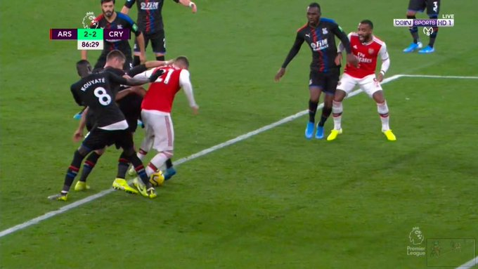 -  Cleverly Encroachment -  Pepe penalty Sheffield U (H) -  Chambers 'foul' vs Palace (H) -  Jorginho 2nd yellow -  Getting red when opposition players get away with similar challenges -VAR shambles yesterday  When is it gonna stop? https://t.co/tcG21dzsYl
