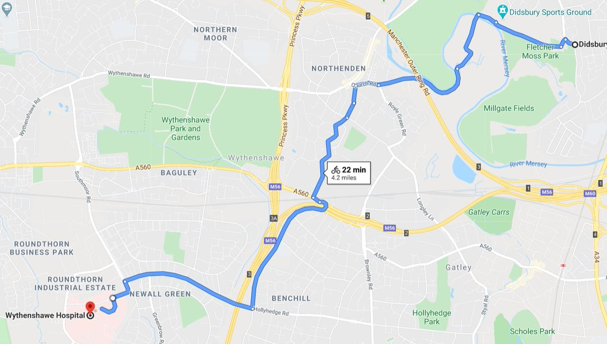 @drmarkyarnie Yes, just avoid the Parkway. This way is cycle tracks or quiet roads (although A560 roundabout a bit vicious). Arrange to keep your bike in the department or a proper lock-up, dont risk chaining it at the front.