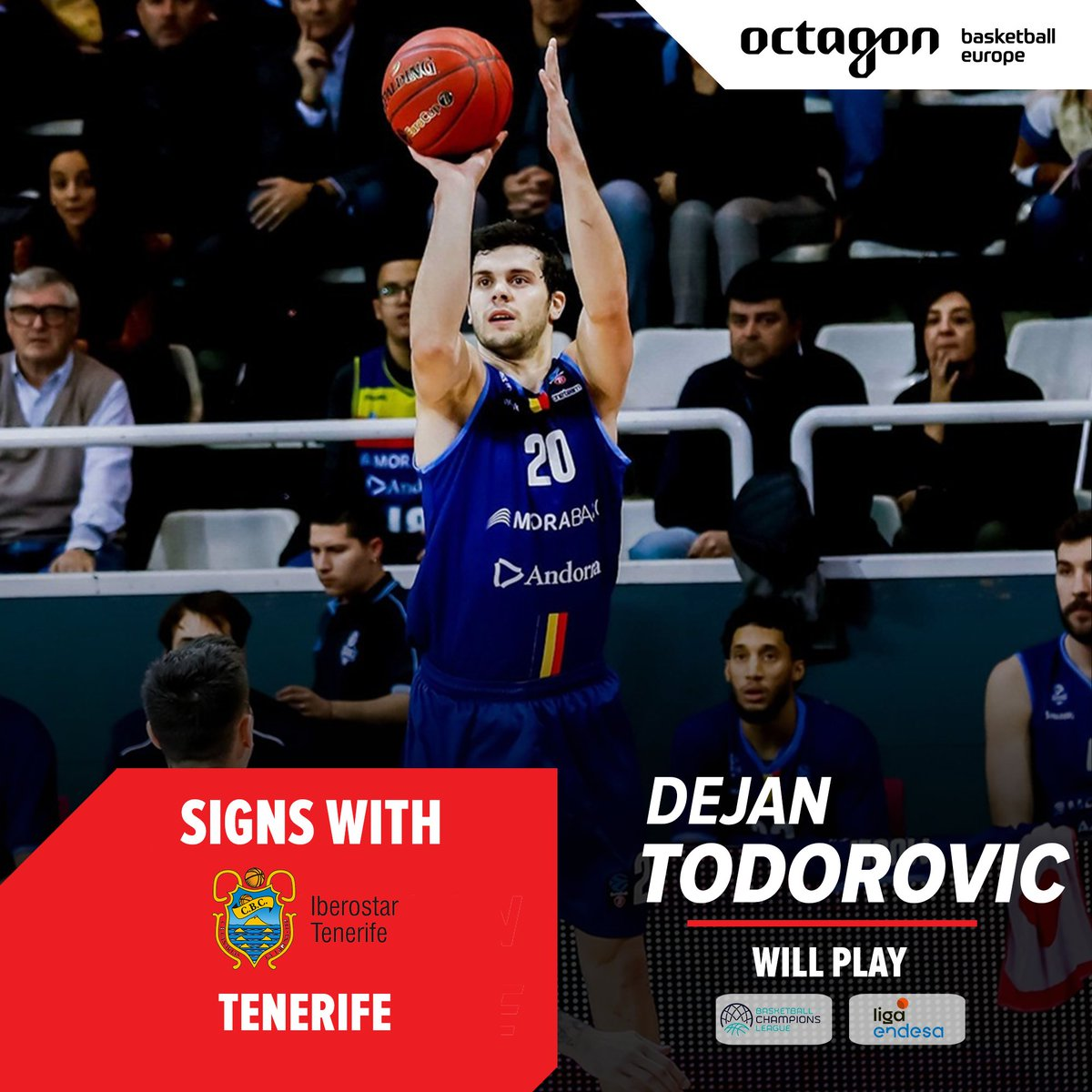 Dejan Todorovic @ToDeki94 is moving to Tenerife, as the Serbian forward inks a multi-year deal with the @ACBCOM and @BasketballCL club #octagonpic.twitter.com/OrPcarL2lP