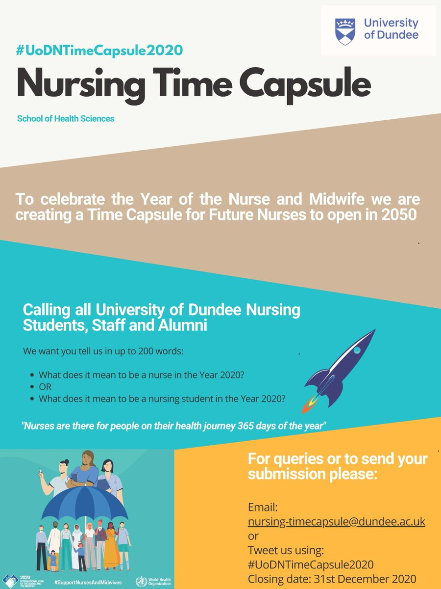 Calling all University of Dundee Nursing Students, Staff and Alumni 📣 To celebrate the Year of the Nurse and Midwife we are creating a Time Capsule for Future Nurses to open in 2050 Find out how you can get involved 👇 #UoDTimeCapsule2020 https://t.co/kq48g8Vjxh