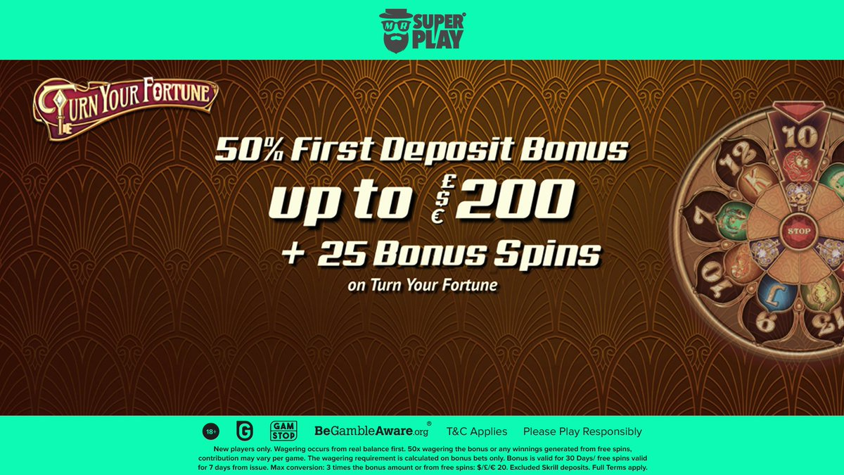 Mr SuperPlay Casino is super generous with the welcome bonus that includes 25 bonus spins on Turn Your Fortune Slot.  Get all the details on: https://t.co/VFpV9LXo1e  #AskGamblers #slots #igaming #bonus #bonusoffer #casinobonus #onlinecasino #casino #welcomebonus #bonusspins https://t.co/Oq3KVoAZyo