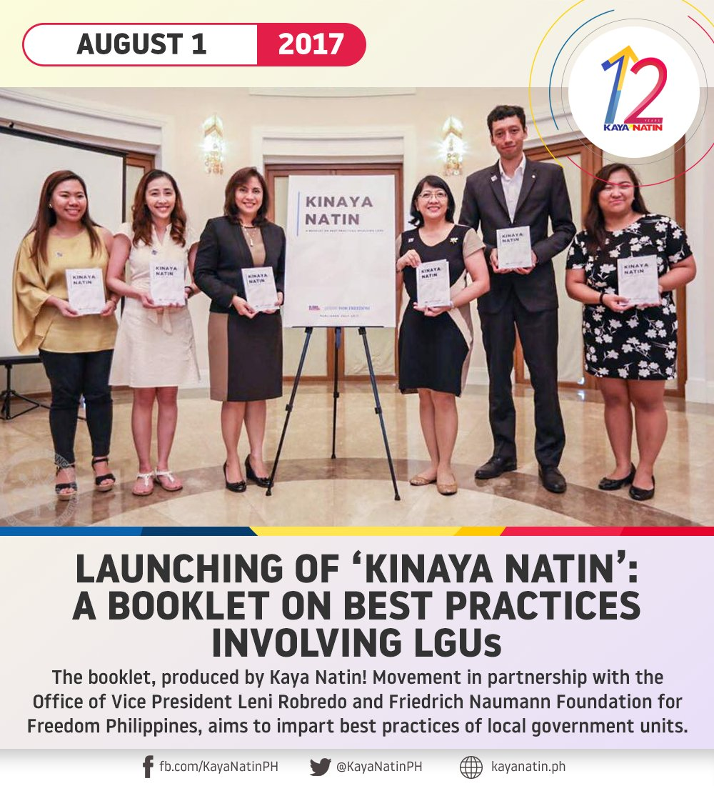 Kaya Natin! Movement, in partnership with the Office of VP @lenirobredo and @FNFPhilippines, produced a booklet showcasing the best practices of some local government units in the country.  #FromTheArchives #KayaNatin12 https://t.co/kBTlfqvL7V