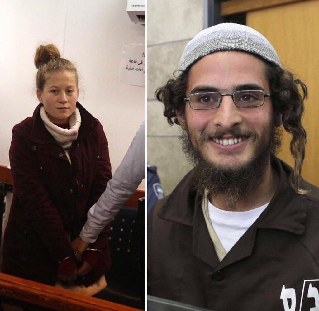 ApartheidIsrael in practical terms  On the left, a child, AhedTamimi, she was 16 yrs, in Israel jail because she was defending her house ... On the right a settlers, who burned alive Dawabsheh family, roaming freely pic.twitter.com/wr4mQtHgQj
