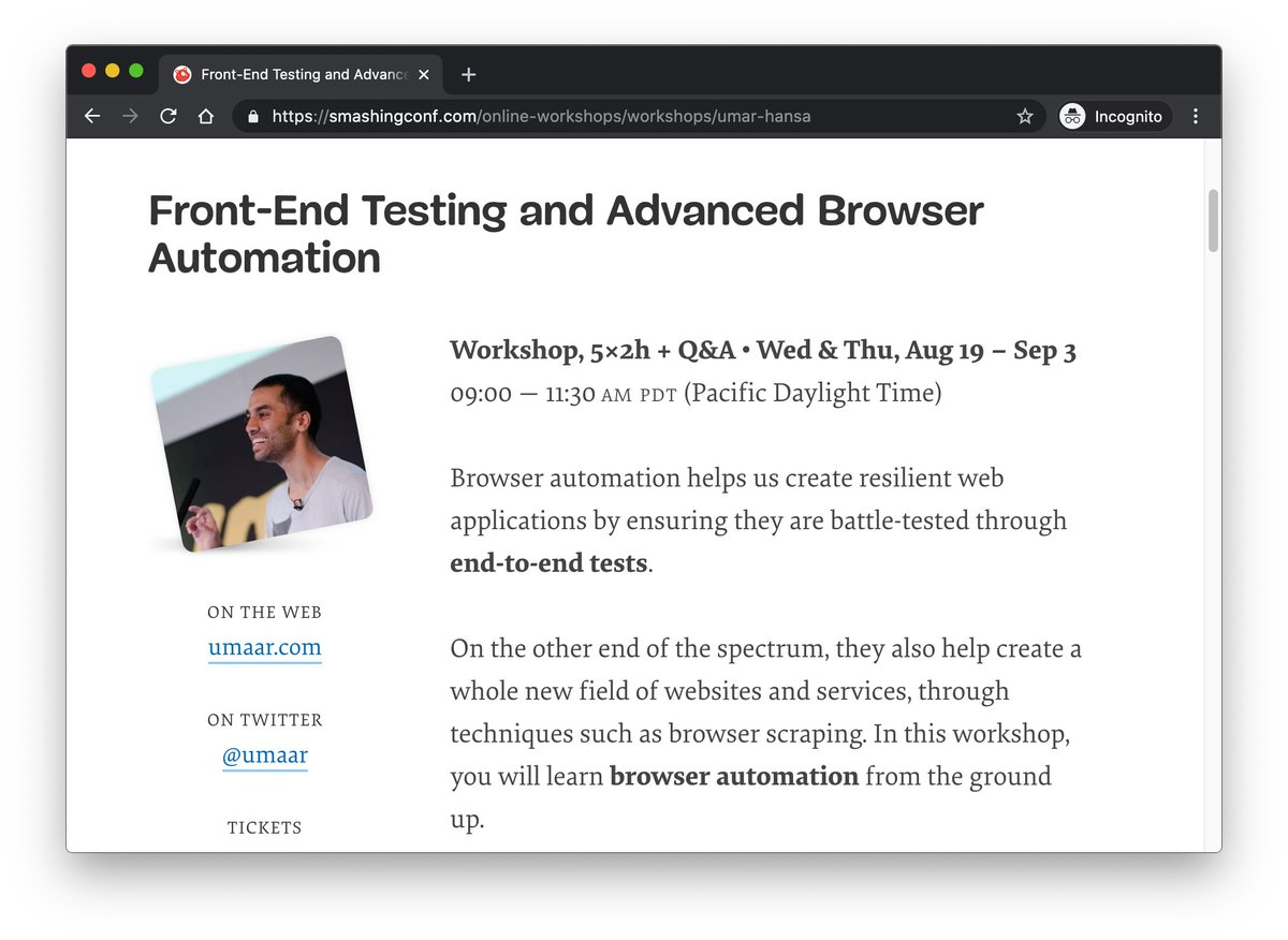 Pleased to announce that Ill be doing an online workshop on Front-End Testing + Browser Automation! ⭐️ smashingconf.com/online-worksho… Thank you @smashingconf!
