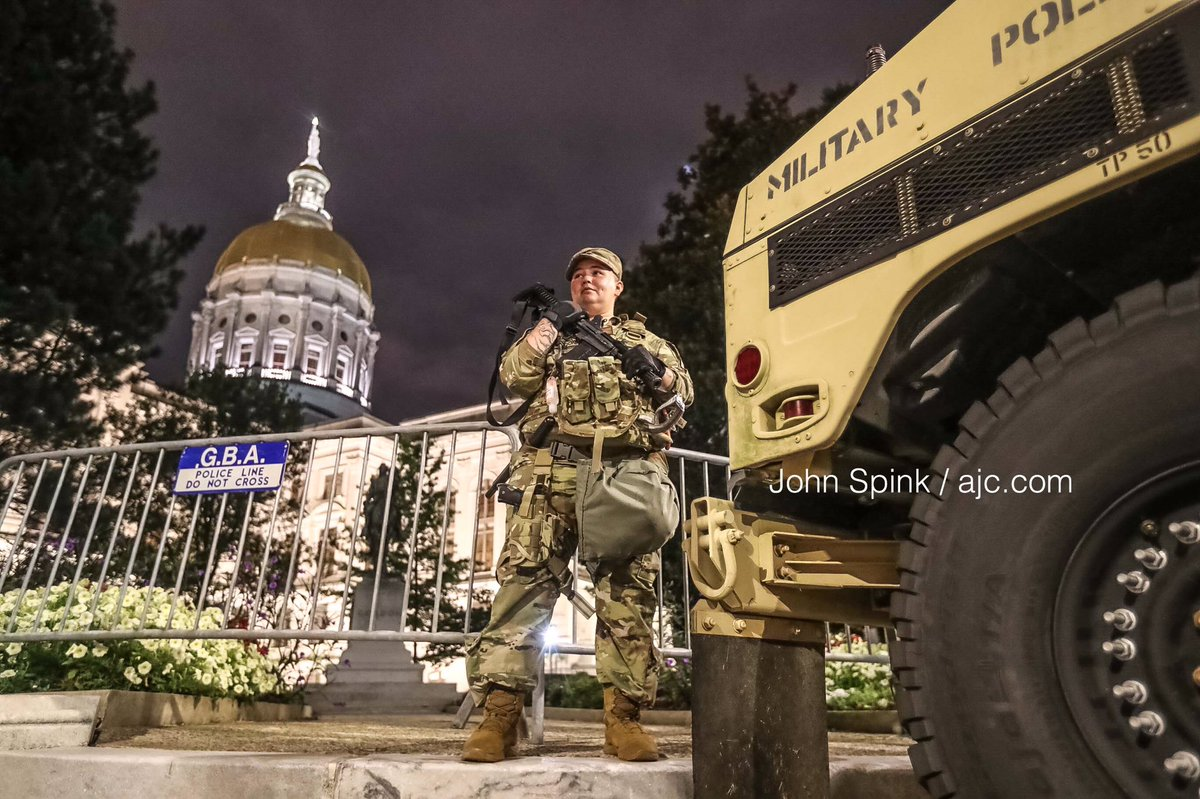 National Guard troops posted guard overnight in downtown #Atlanta after Gov. Kemp ordered deployment after last weekend's violence - https://t.co/W5oVnO5wvh - #Georgia https://t.co/D8wsRH8ipR