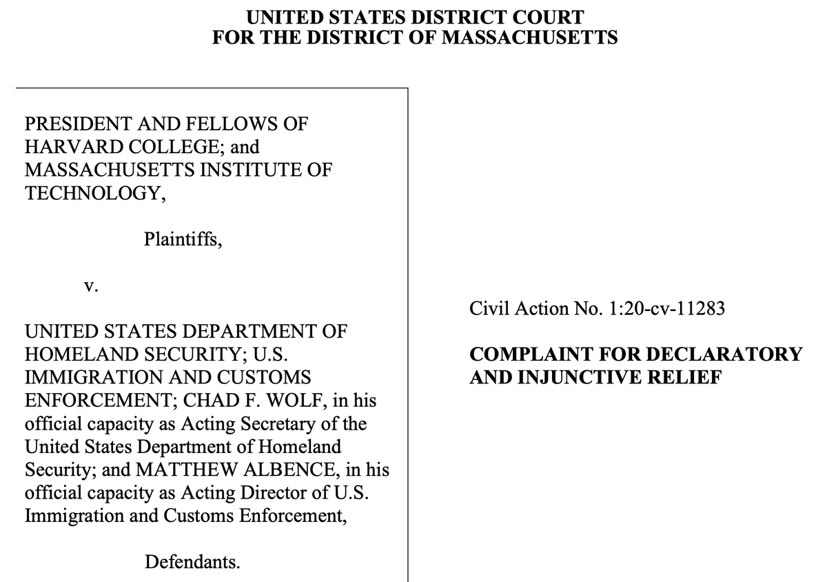 BREAKING: MIT and Harvard just filed suit against ICE and the DHS seeking to reverse their ban on international students being able to stay in the US while taking classes remotely.  Full complaint: https://t.co/swEIoV2TTV https://t.co/uNzLeWfnyO