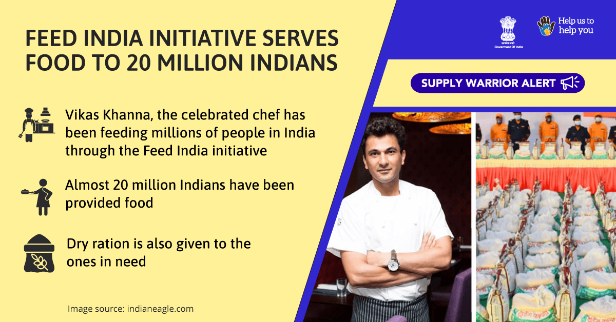 Celebrity Chef @TheVikasKhanna is feeding millions of people in #India with the help of the Feed India Initiative. Kudos to his efforts towards supporting lives during the testing times!   #IndiaFightsCorona #SupplyWarriors #SwachhBharat  @PMOIndia @COVIDNewsByMIB @MIB_India https://t.co/OX5Jr6UcsM