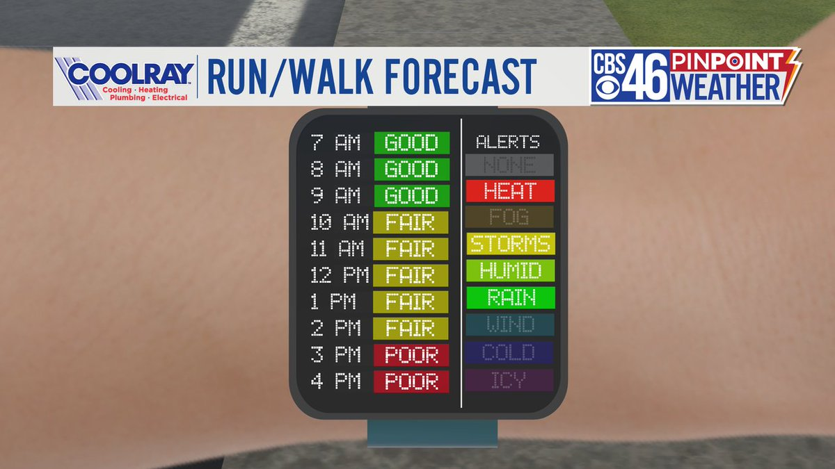 Decent conditions for a run/walk this morning. Odds of a t-storm increase this afternoon. Even without the rain, it will feel near 90° because of the humidity, so stay hydrated!  #cbs46 https://t.co/isloPd94mW