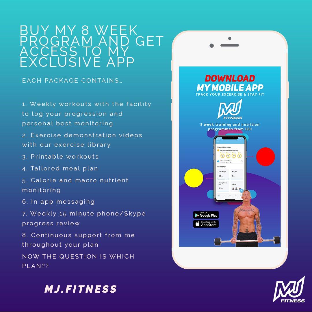 8 week online personal training programs on my exclusive online app MJ.fitness