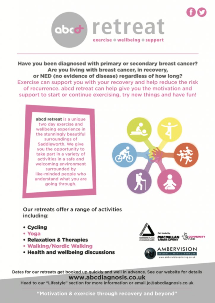 """Link below to the #abcdretreat that I provide for primary #breastcancer and #secondarybreastcancer people for """"motivation and #exercise through recovery and beyond"""" On hold for the moment but please share with others who would attend in future #BCCWW https://t.co/8z2odwnKMG https://t.co/oHHdnKdIox"""
