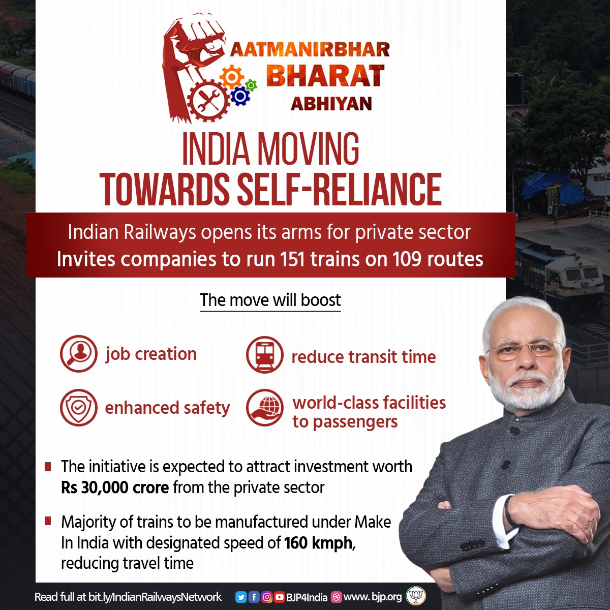 The #AatmanirbharBharat Abhiyan is helping India move towards self-reliance. Indian Railways has invited private companies to run 151 trains on 109 routes. This will boost - Job creation Reduced transit time Enhanced safety World-class facilities