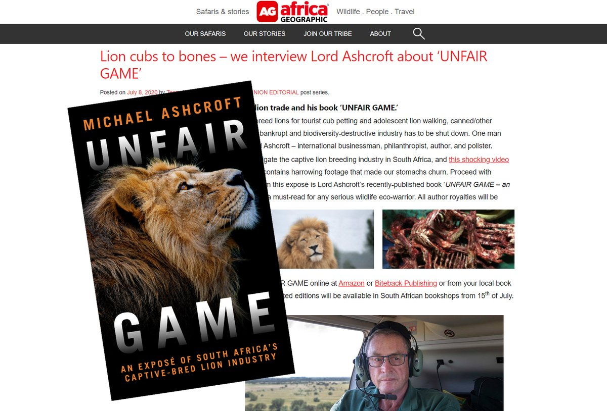 Read my interview with Africa Geographic (@africageo) magazine on my new book #UnfairGame which exposes the evils of lion farming in South Africa  👇👇 https://t.co/ESZOM7nBzF https://t.co/sJX4Il9by4