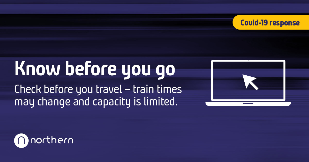 If you choose to travel by train, please travel safe and know before you go.  👩💻 Check ahead and make sure you allow plenty of time to travel.  ↗️ Some stations may have one way systems in place. More travel advice 👉 https://t.co/2xwTU5gCVR https://t.co/JOH0qIbZpd