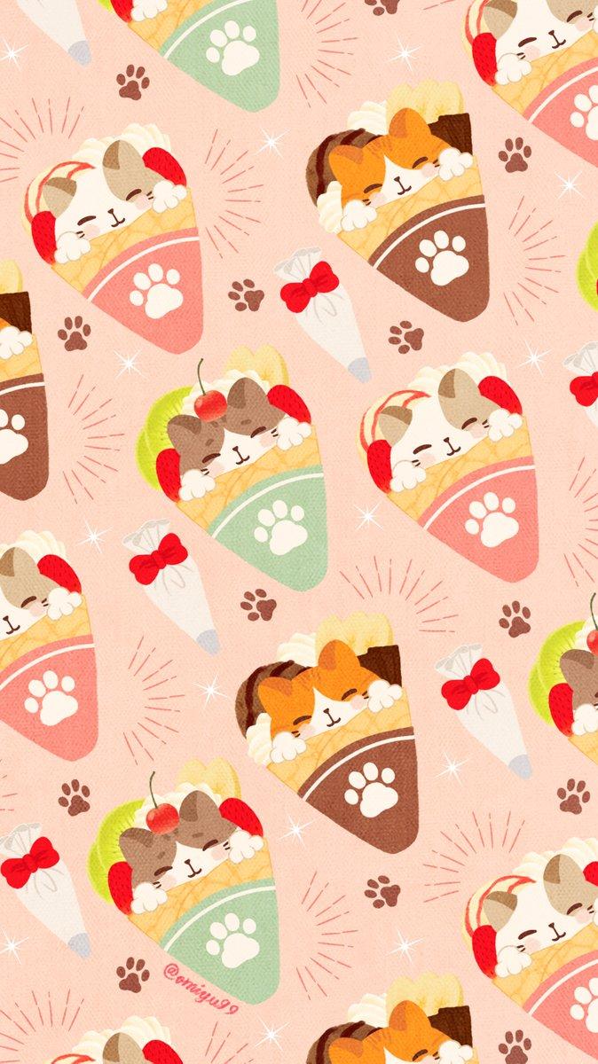 Omiyu みゆき على تويتر ねこクレープな壁紙 Illust Illustration 壁紙 イラスト Iphone壁紙 クレープ Crepe ねこ 猫 Cat 食べ物