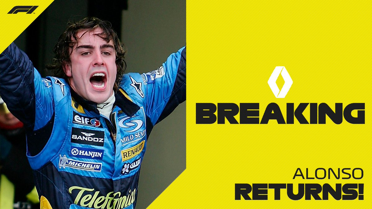 It's official!   @alo_oficial is back in F1 and will race for @RenaultF1Team in 2021   #F1 https://t.co/O4zB2ckM0j