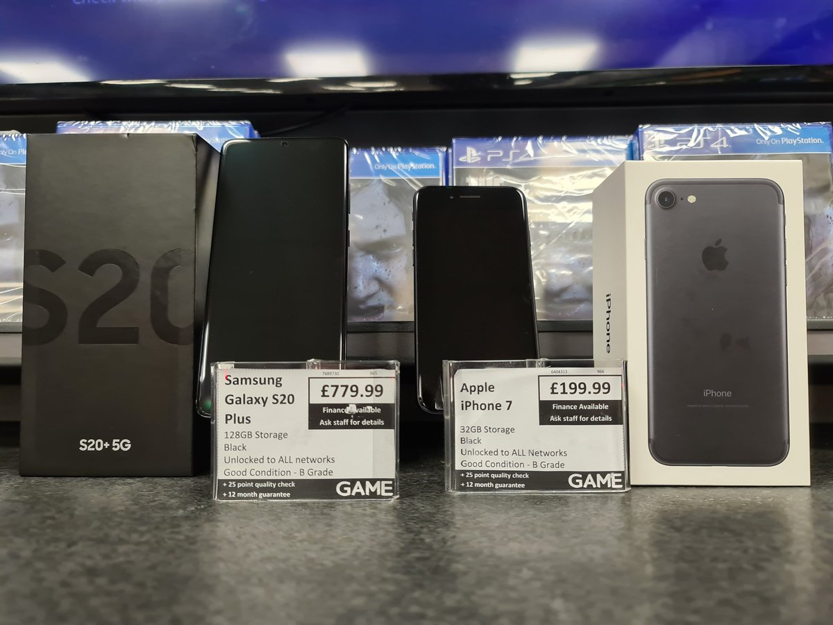 JUST IN! #SamsungGalaxyS20Plus 128GB unlocked to any network - £779.99 #iPhone 7 32GB unlocked to any network - £199.99  Looking at an upgrade? Pop in store and get a quote on trading in your handset #CheaperWhenYouTradeAtGAMEpic.twitter.com/wW0bFoTs8e – at Woolshops Shopping Centre