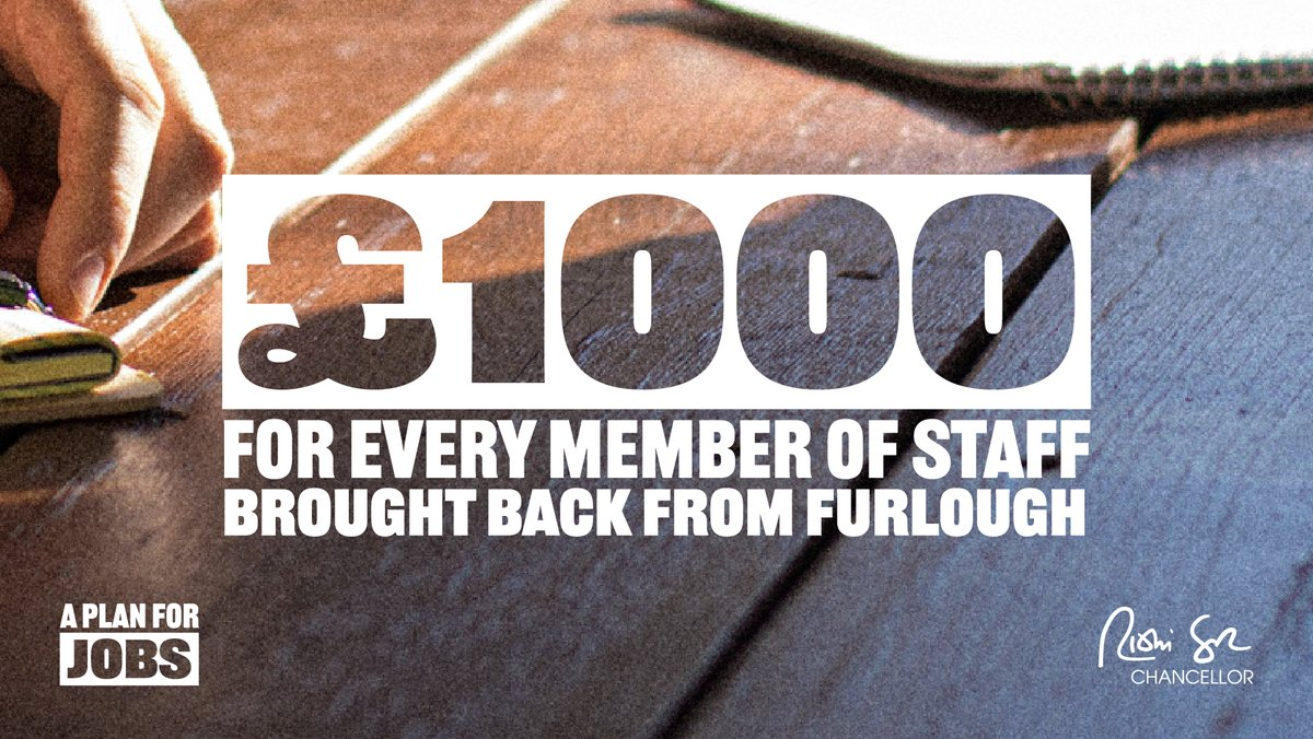 We want to reward employers who successfully bring staff back from furlough. If you bring back someone who was furloughed - and continuously employ them through to January well pay you a Job Retention Bonus of £1,000 per person. #PlanForJobs