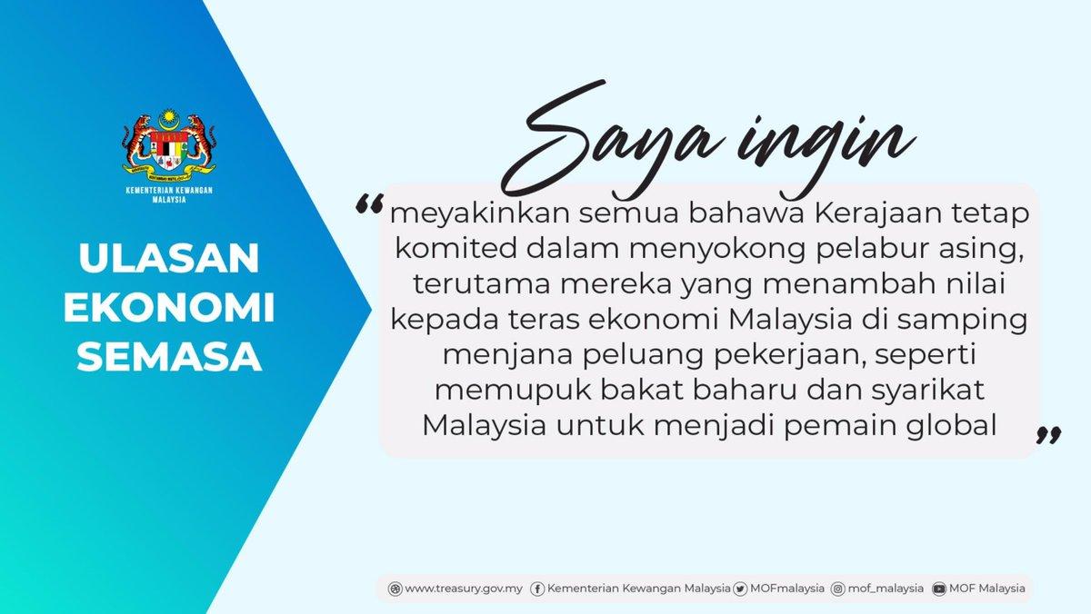 Walaupun berhadapan #COVID19, Malaysia mampu meraih pelaburan langsung asing, kekal mesra pelabur & mendapat pengiktirafan penilaian global - @MOFmalaysia @tzafrul_aziz https://t.co/cvqSW5vFOj