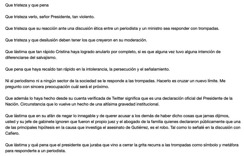 RT @diegoleuco: Mi respuesta al Presidente @alferdez https://t.co/GflcjkBpbT