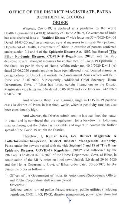 कोरोना वायरस के बढ़ते संक्रमण को देखते हुए ज़िलाधिकारी पटना श्री कुमार रवि ने पटना ज़िला में 7 दिन (दिनांक 10.07.2020 से 16.07.2020 तक) का लॉकडाउन का आदेश दिया है ।