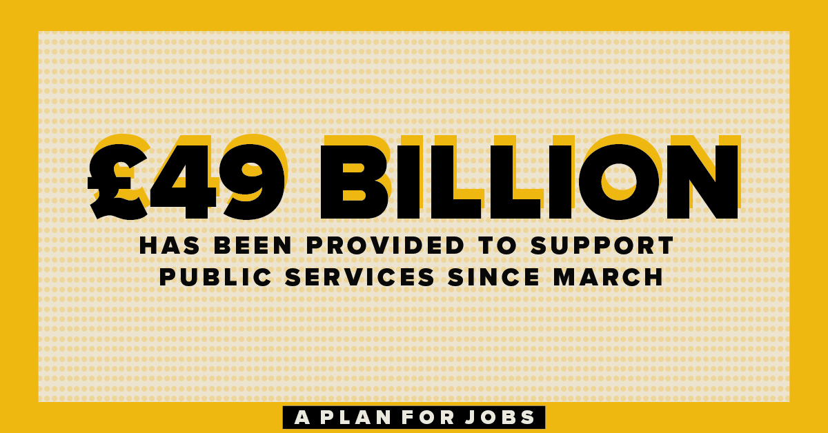 We have provided £49bn to support public services, with new funding for the NHS, schools, public transport, local authorities, and rough sleepers. #PlanForJobs https://t.co/zW3pMn1kIh