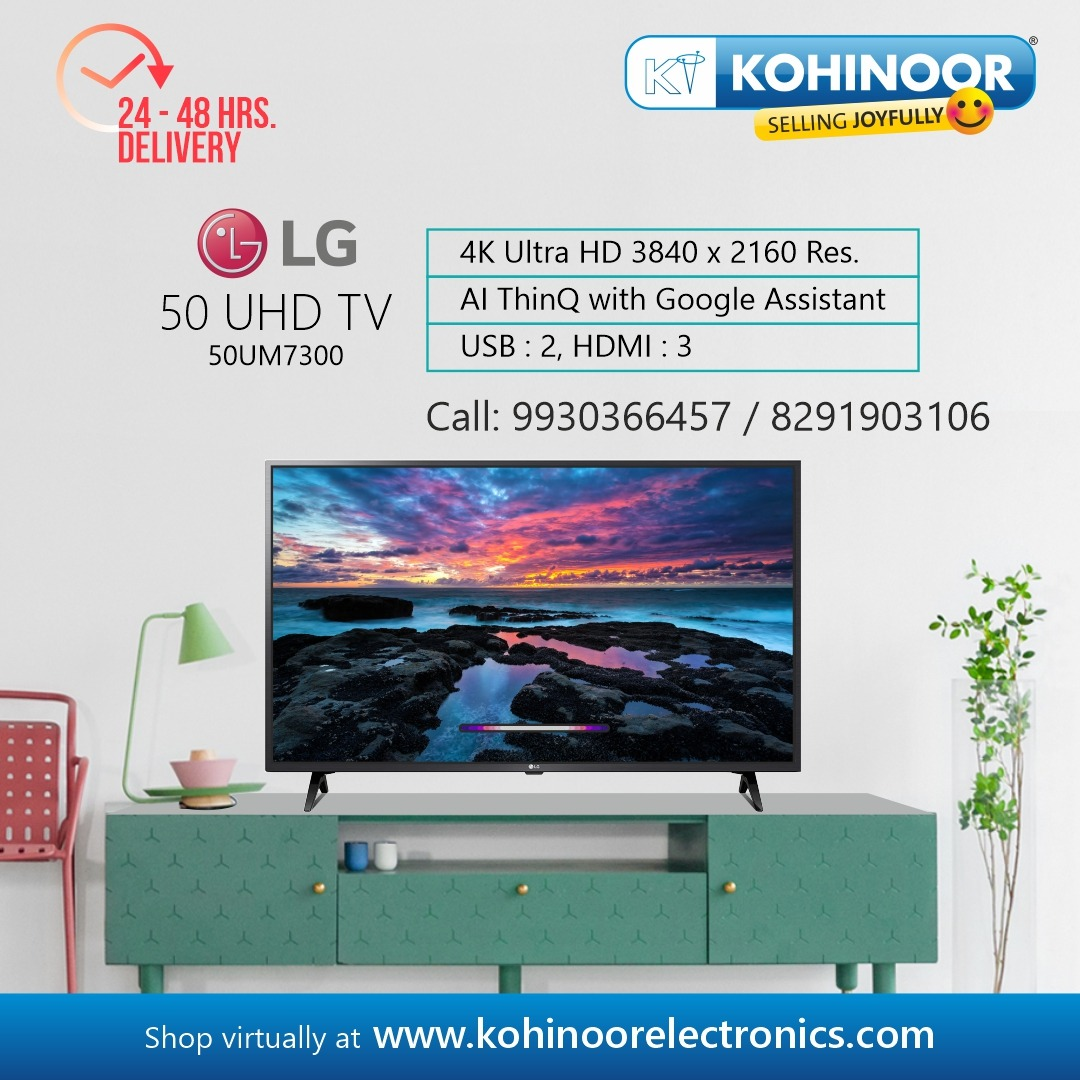 Enjoy 4K brilliance with AI smart technology with your LG television. Visit a Kohinoor store to know more or shop virtually at  . #Kohinoor #NowOpen #Mumbai #Pune #LG #4K #AI #ThinQ #Telivision #TV #Entertainment #TheatreExperience #StaySafe