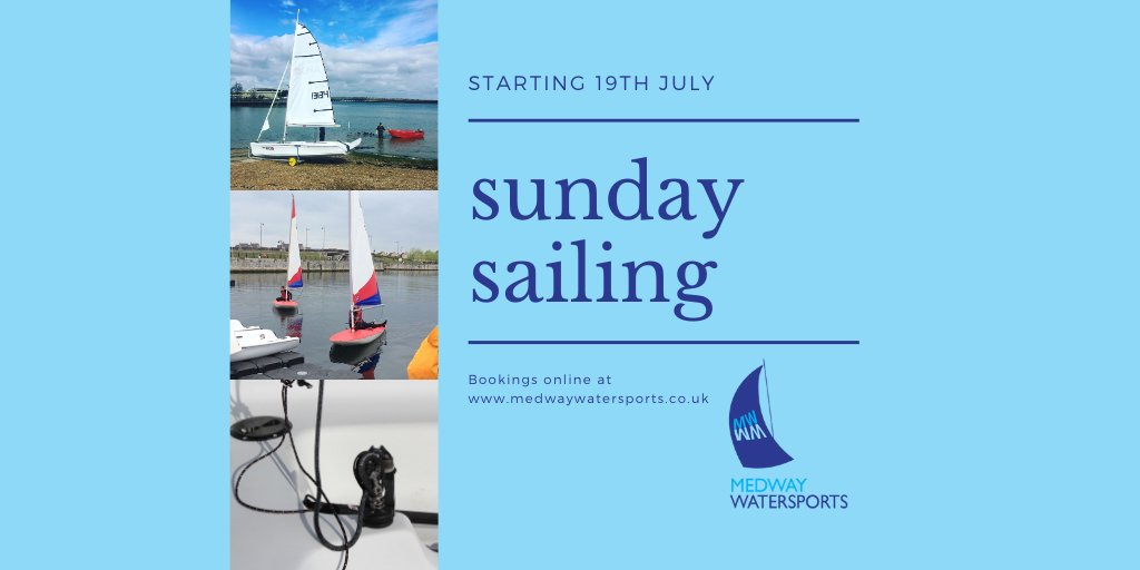 SUNDAY SAILING is back on SUNDAY 19th JULY for 16+ experienced sailors.  Bookings can be made at https://t.co/NnYn7zWI7k  #medwaywatersports #sailing #sundaysailing #river #medway #watersports #wateractivity #leisure https://t.co/pWZDzhgkQk