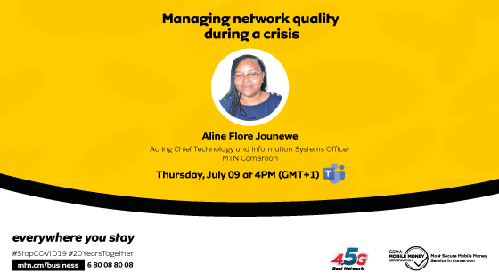 """Y'ello! This July 9th at 4pm, the MasterClass continues with MTN. For this 9th talk, Aline Flore JOUNEWE, Acting Technical and IT Director, will talk us through the theme : """"Managing network quality during a crisis"""".   Register  here :  https://t.co/th5jrW2PfQ https://t.co/eZ0zF5P8s5"""