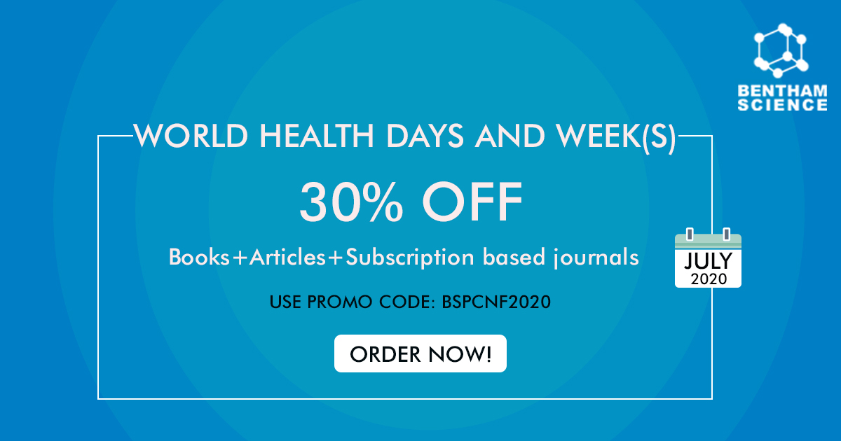 Bentham Science is offering special deals for #WorldHealthDay 📣  -  Avail 30% Off books, journals, and articles. - Directly subscribe to our print issues by paying secure payment.  Check out the deals here: https://t.co/pqtCsXXjpQ Shop now! Use promo code: BSPCNF2020 https://t.co/XfpVmr68zy