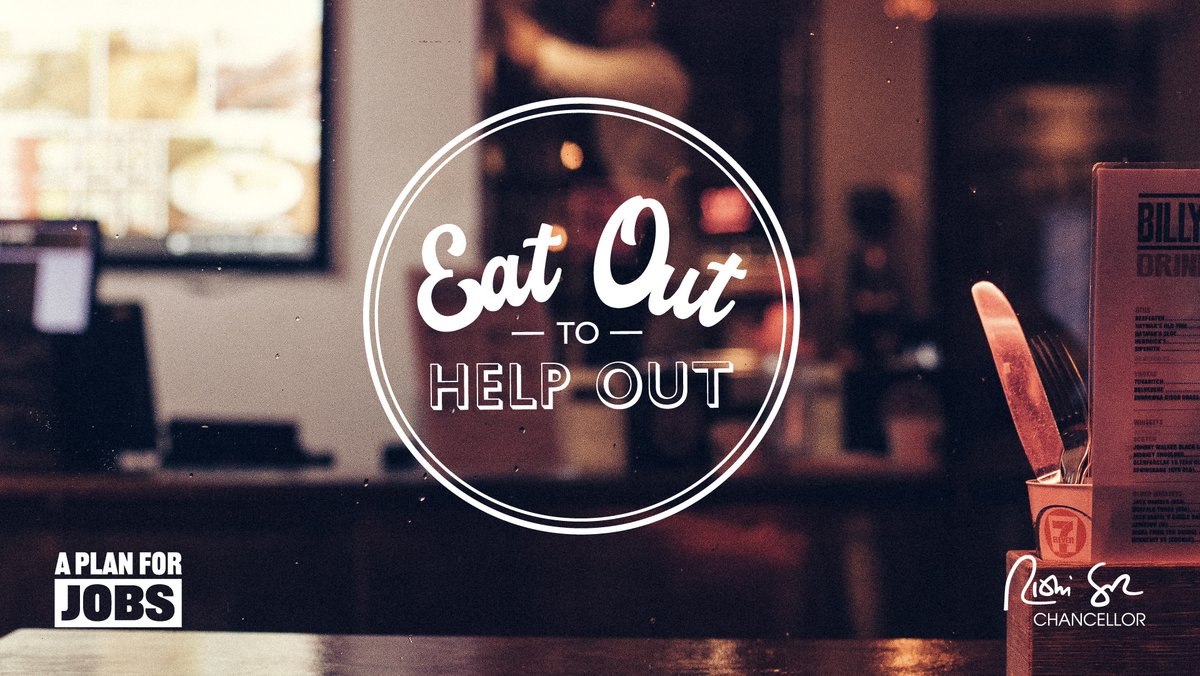 To support restaurants and the people who work in them we're saying 'Eat Out to Help Out'. So for the month of August we will give you a 50% reduction, up to £10 per head, on sit-down meals and non-alcoholic drinks Monday-Wednesday. #PlanForJobs