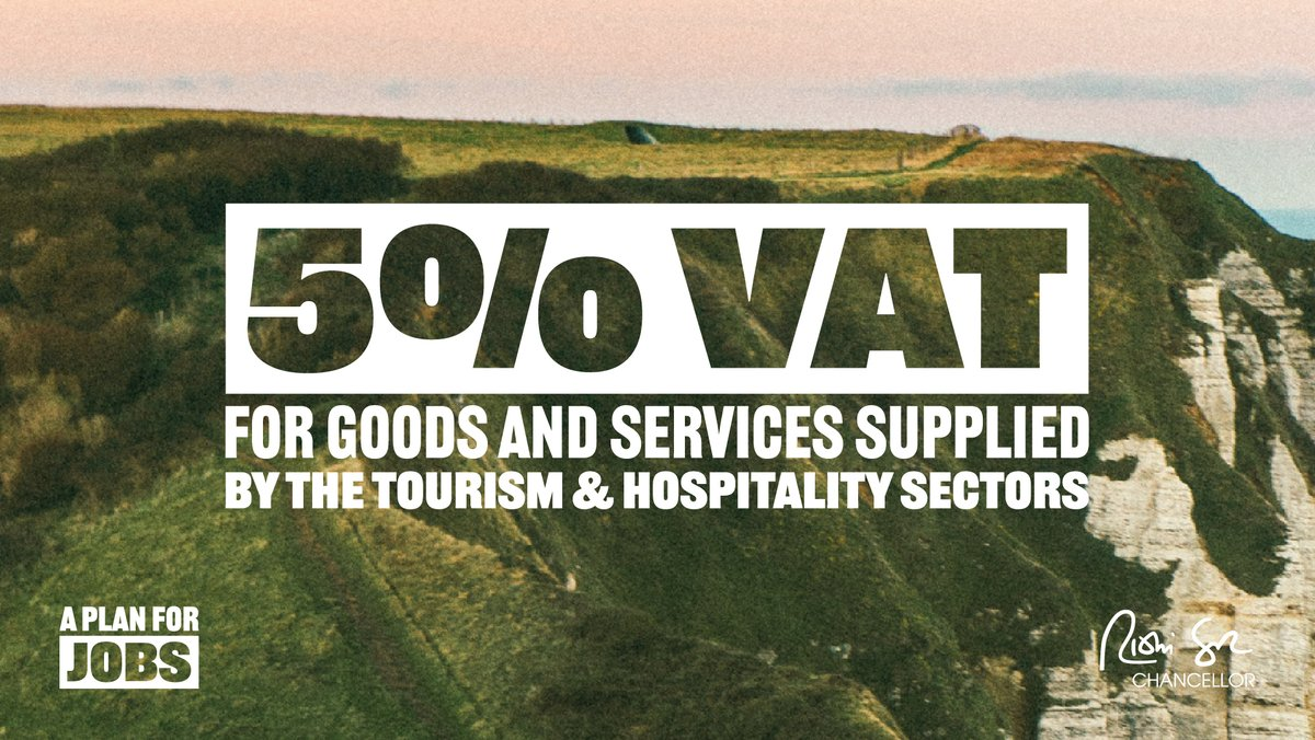 Were reducing VAT to 5% for goods and services supplied by the tourism and hospitality sectors. This is a £4bn catalyst benefiting over 150,000 businesses, and consumers everywhere - all helping to protect 2.4 million jobs. #PlanForJobs