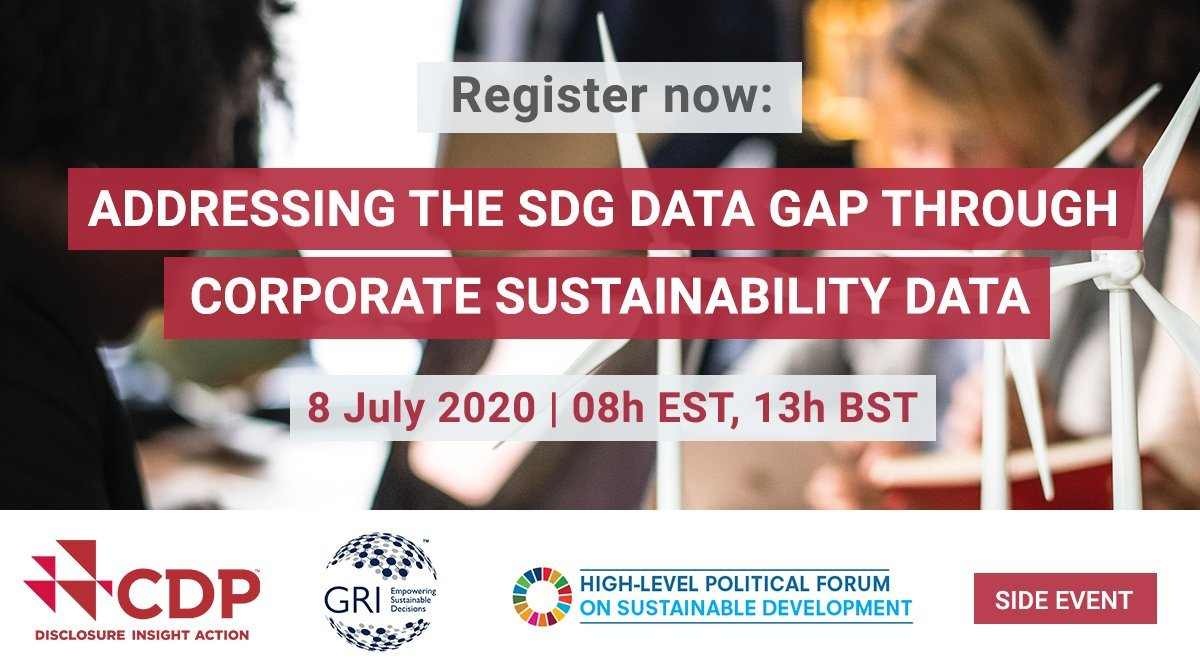 Today we kick off our #HLPF2020 coverage in the side event Addressing the SDG data gap through corporate sustainability data put on by @GRI_Secretariat and @CDP. Looking forward to hearing from @PietroBertazzi @UNstats @FAOSDGs @apradilla @FionaDaweONS and @aortizgalan!