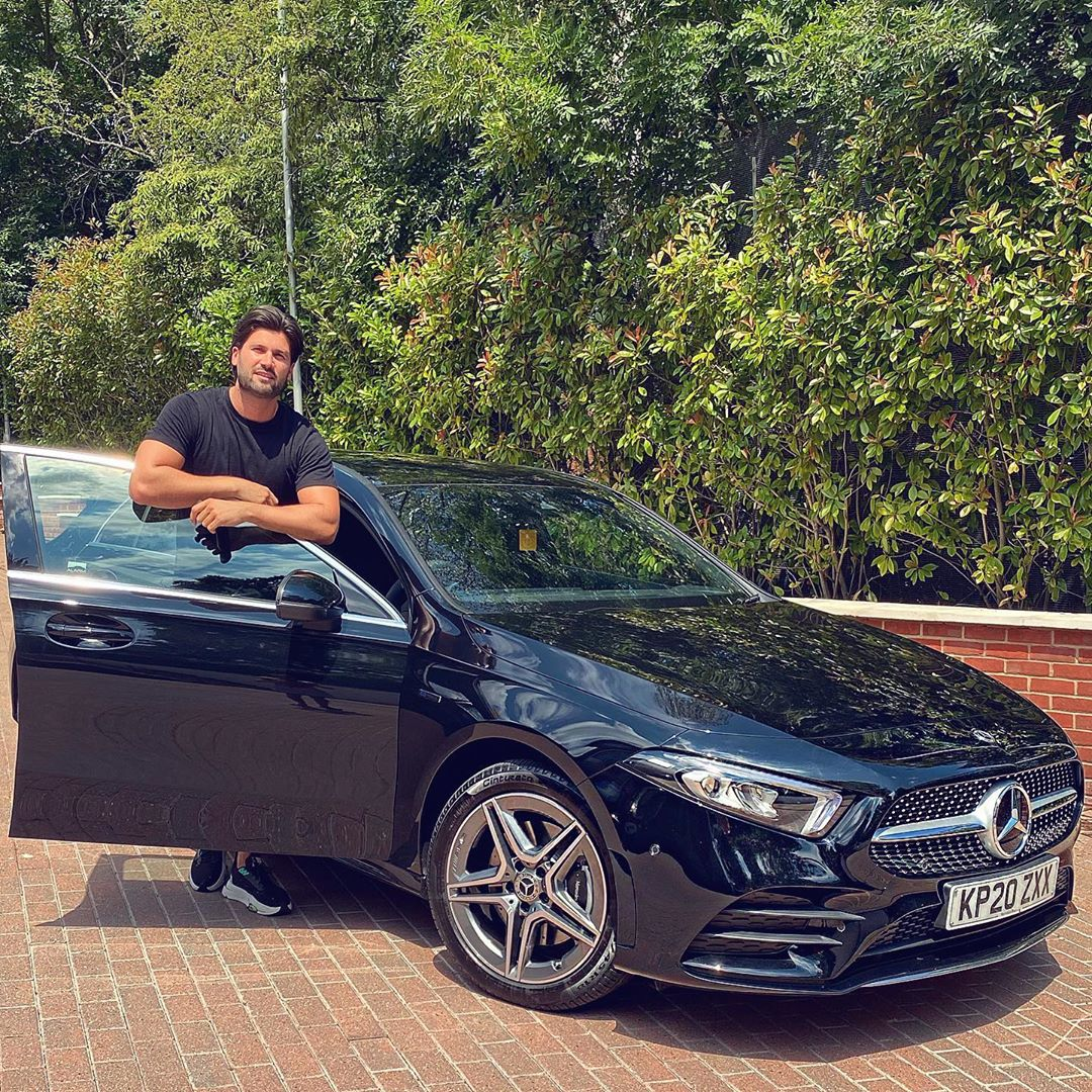 TOWIEs Dan Edgar with his new Mercedes Benz A250 E AMG Line from Pink Vehicle Leasing. View our latest leasing deals from Mercedes, Audi, BMW and many more on our website. 🌐 bit.ly/317kQBm #AD #CarLeasing #MercedesAClass