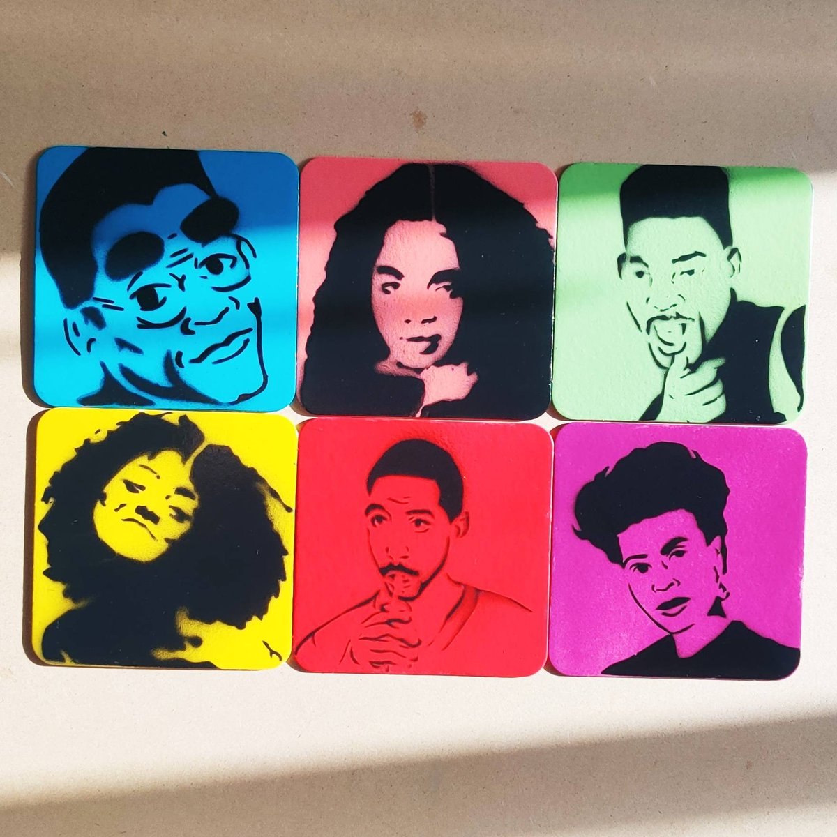 Now shipping. #pickya6 : For the Culture set.  Build your own, link in my Bio  #paintingsthatpopllc #fortheculture #dwaynewayne #denisehuxtable #willsmith #freddybrooks #chad #auntviv #adifferentworld #thefreshprince #insecure #barcoasters https://t.co/DHWvudn9Ub