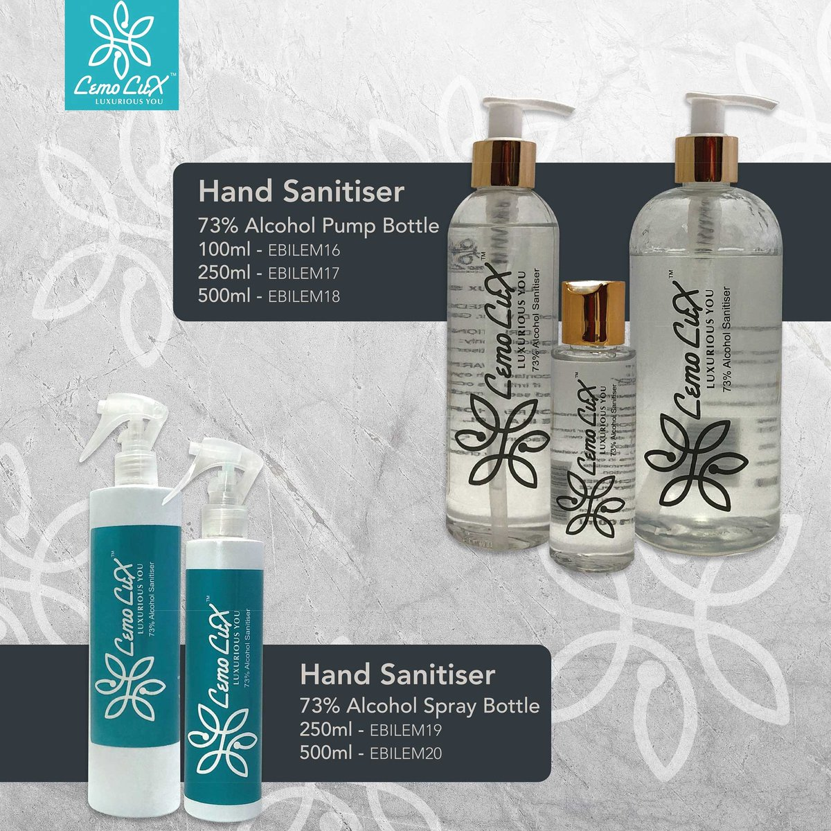 You get infected with germs from whatever you touch. The best solution for you is to sanitize your hands with lemoux Hand Sanitiser to enjoy complete protection against infectious germs.   Order yours now: info@chemfresh.co.za  #madeinalex #mylemolux https://t.co/9THoAUugr4