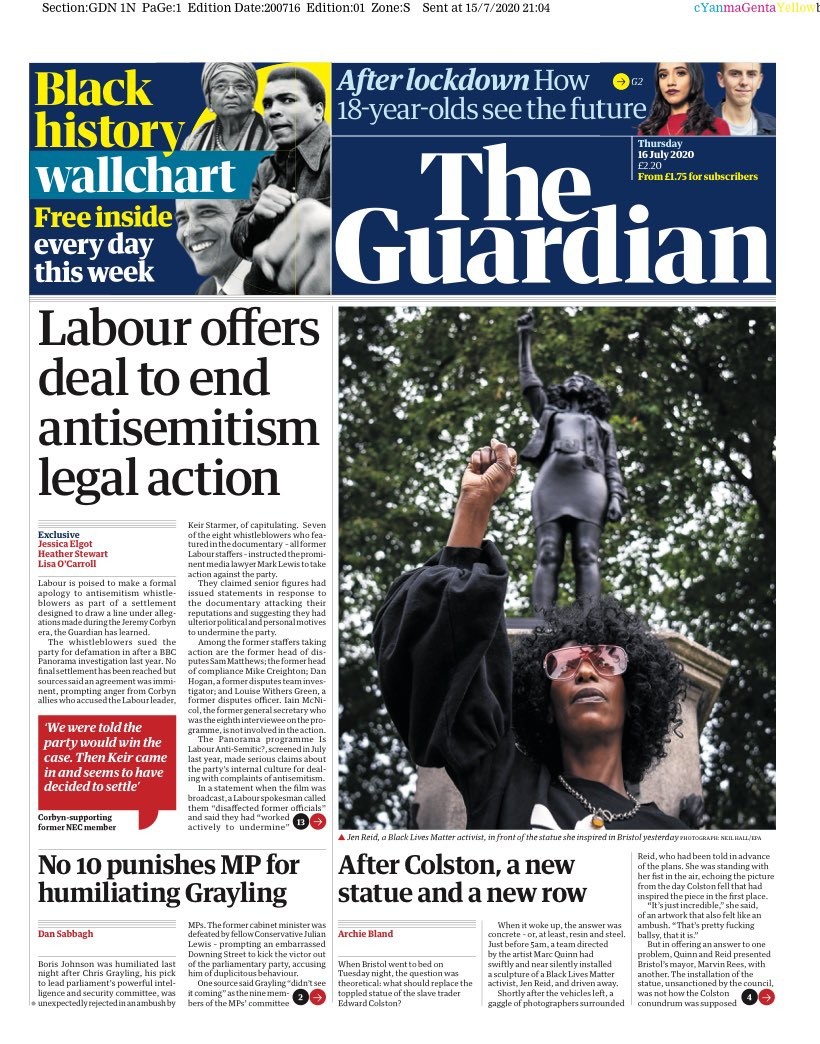 """Thursday's Guardian: """"Labour offers deal to end antisemitism legal action"""" #TomorrowsPapersToday #BBCPapers (via @hendopolis) https://t.co/sdy37ScI6h"""