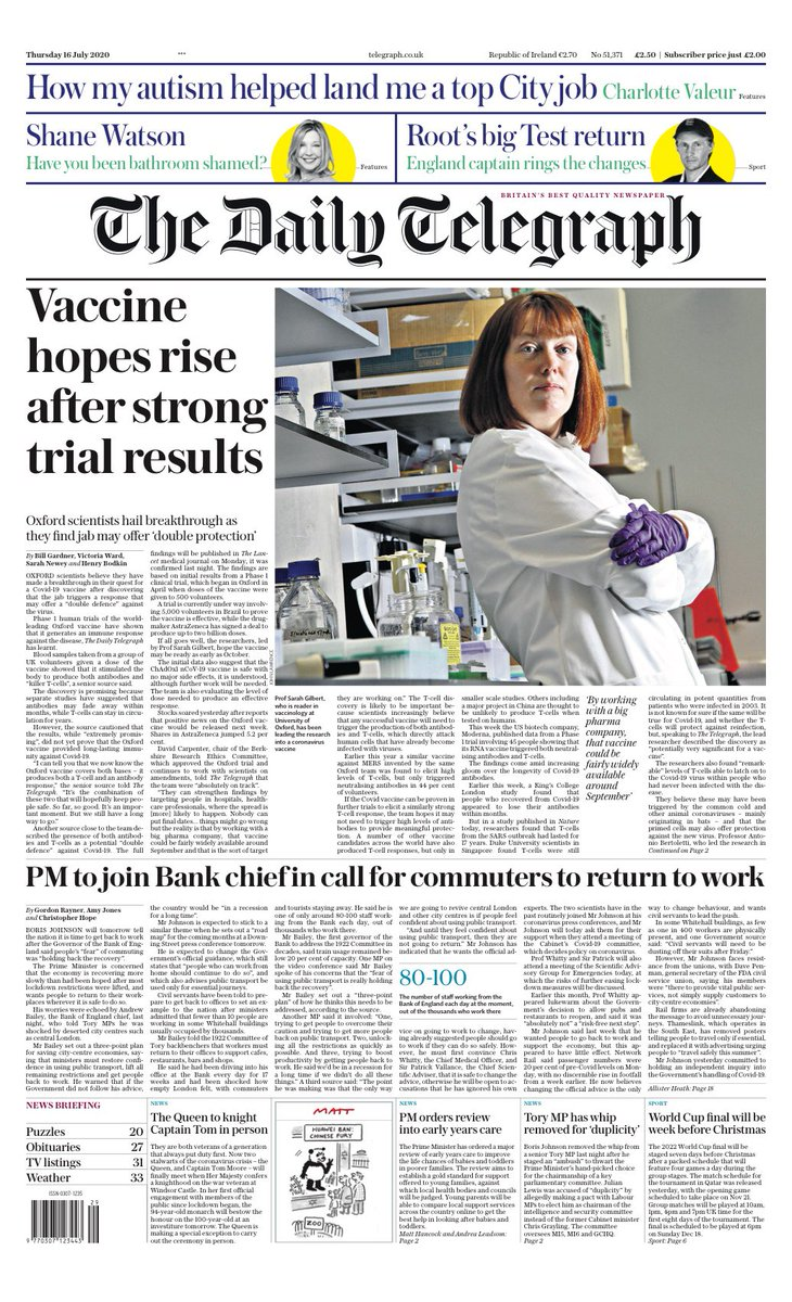 """Thursday's Telegraph: """"Vaccine hopes rise after strong trial results"""" #TomorrowsPapersToday #BBCPapers (via @hendopolis) https://t.co/uL0FMAFUIg"""