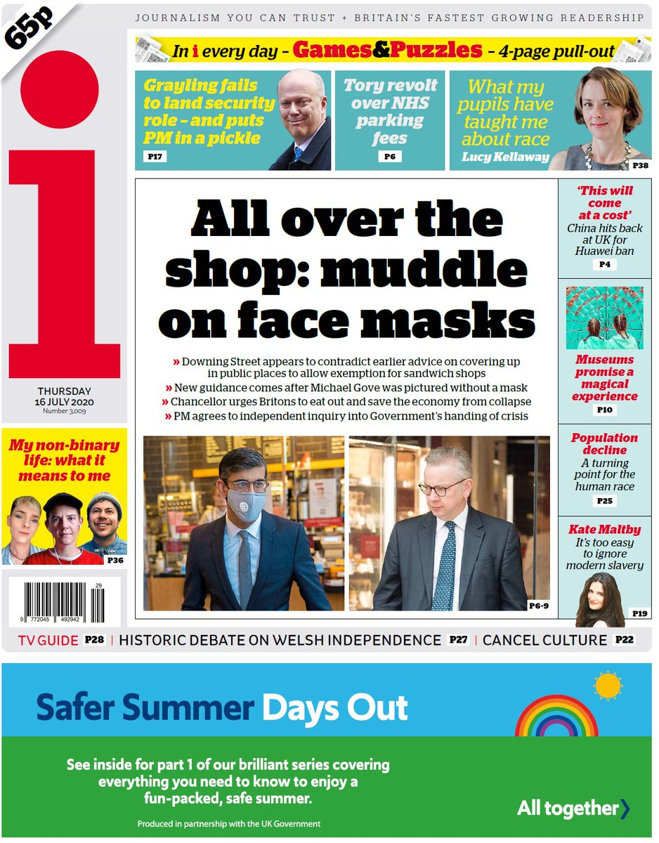 """Thursday's i: """"All over the shop: muddle on face masks"""" #TomorrowsPapersToday #BBCPapers (via @hendopolis) https://t.co/Yn5HRmPQ9S"""