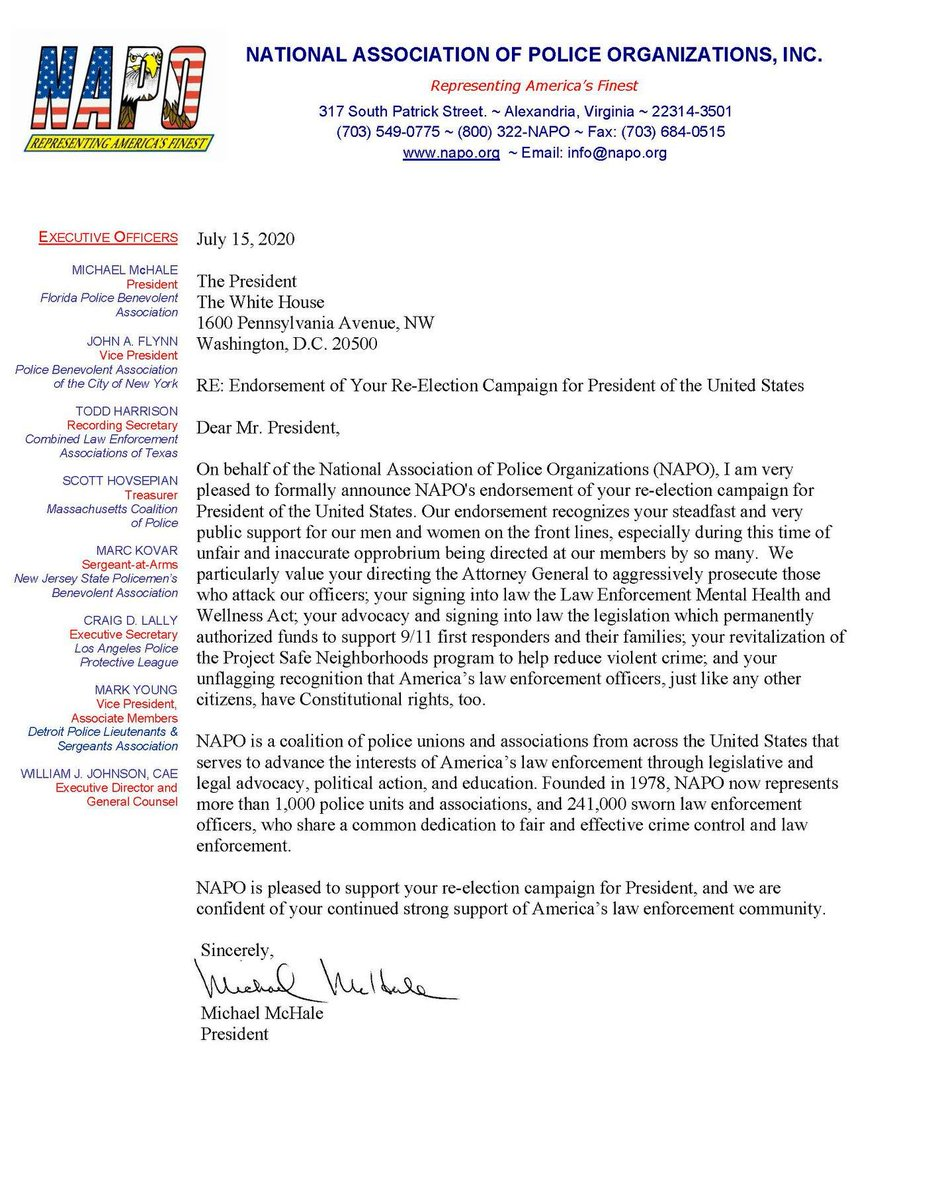 NAPO has endorsed President Trump in his reelection campaign. Here is our endorsement letter which was issued following today's meeting. https://t.co/mf6ZUTf10l