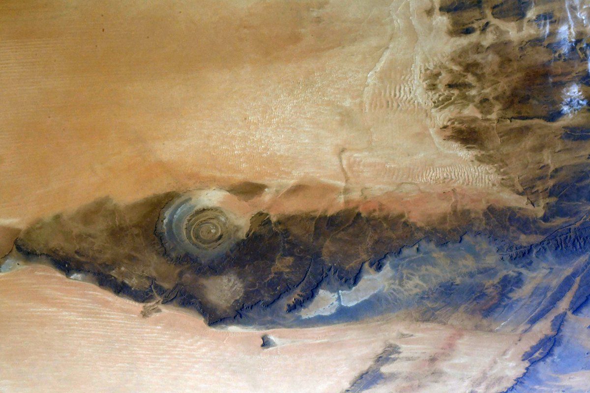 """Amazing to see the """"Eye of the Sahara"""" near Ouadane, Mauritania. Easily viewable with one's naked eye from our windows on @Space_Station."""