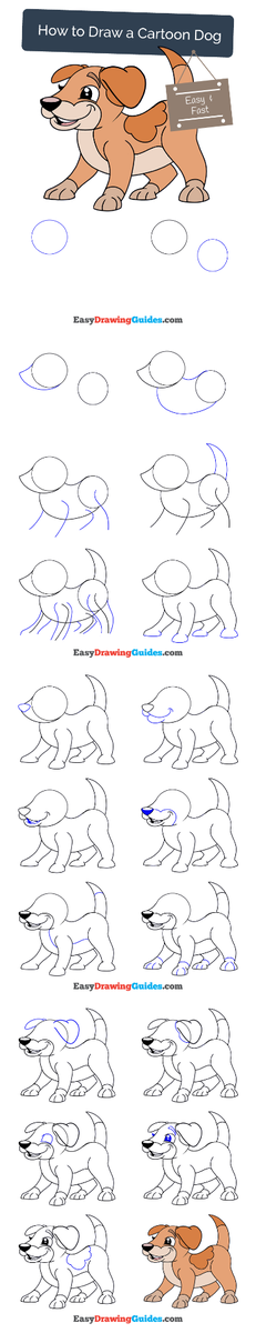 Easy Drawing Guides On Twitter Cartoon Dog Drawing Lesson Free
