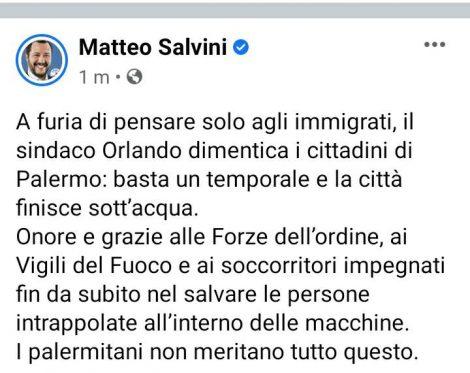 Salvini si scaglia contro Orlando, il nubifragio apre la campagna elettorale - https://t.co/dJPKIp9sl5 #blogsicilianotizie